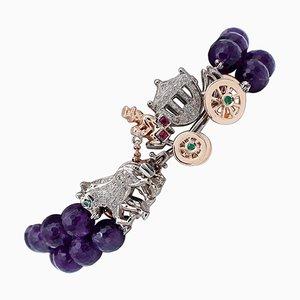 Bracciale con diamanti, rubini, smeraldi, oro rosa 9 carati e argento