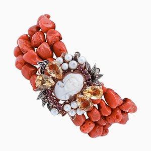 Diamond, Garnet, Topaz, Pearl, Coral, 9 Karat Gold and Silver Cameo Bracelet