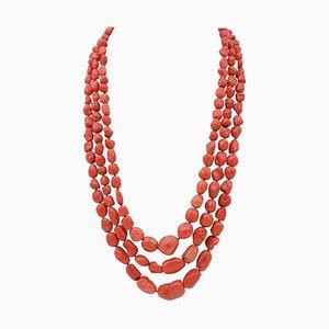 Coral Multi-Strand Necklace with Silver Closure