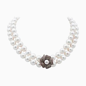 9 Karat Rose Gold and Silver Necklace with Rubies, Stones & Pearls