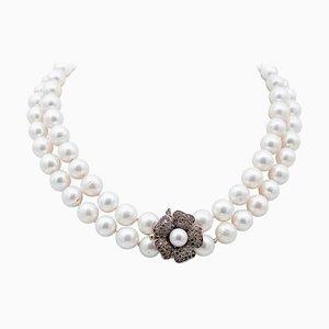 Halskette aus 9 Karat Roségold und Silber mit Rubinen, Steinen & Perlen