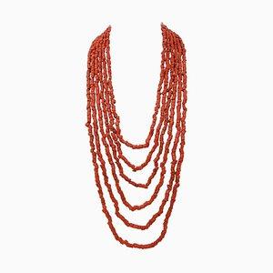 Diamant, Topas, Koralle, Perle, 9 Karat Gold und Silber Multi-Strand Halskette