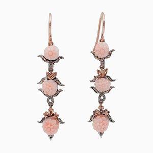 Rosa Koralle, Diamanten, 9 Karat Roségold und Silber Ohrringe, 2er Set