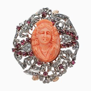 Diamond, Garnet, Carved Coral, 9K Rose Gold and Silver Ring