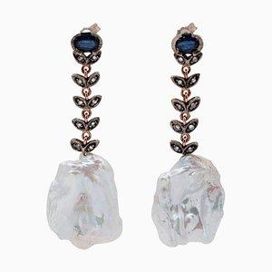 Barocke Perlen, Saphire, Diamanten, 9K Roségold und Silber Hängeohrringe, 2er Set