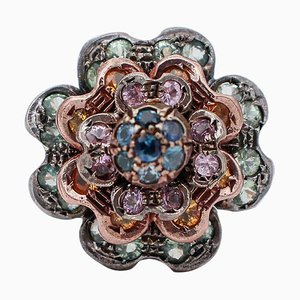 Blue, Pink, Green & Yellow Sapphire, Rose Gold and Silver Flower Cluster Ring