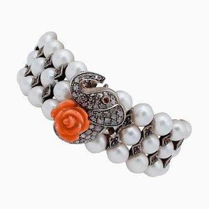 Bracciale con diamanti, corallo, rubini, perle, oro rosa 9 carati e argento