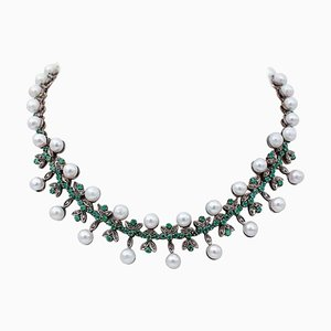 Diamond, Emerald, Pearl, 9 Karat Rose Gold and Silver Necklace