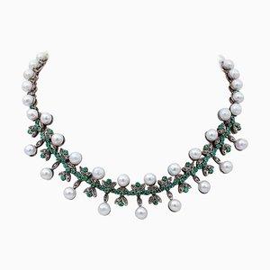 Halskette aus Diamant, Smaragd, Perle, 9 Karat Roségold und Silber