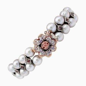Bracelet en Perles Grises, Rubis, Pierres Colorées, Or Rose 9 Carats et Argent