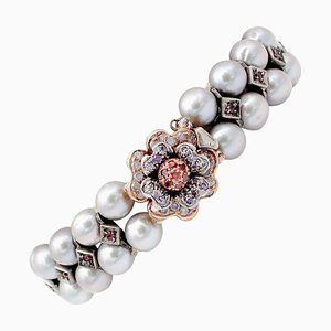 Grey Pearl, Ruby, Colored Stone, 9 Karat Rose Gold and Silver Bracelet