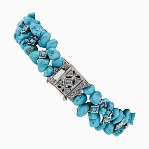 Diamond, Turquoise, 9 Karat Rose Gold and Silver Bracelet