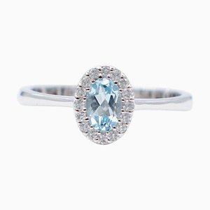 Oval Aquamarine, White Diamond & 18 Karat White Gold Ring