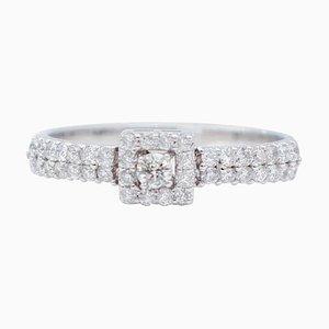 Weißer Diamant und 18 Karat Weißgold Verlobungsring
