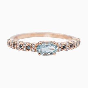 Ring aus Aquamarin, Diamant und 18 Karat Roségold