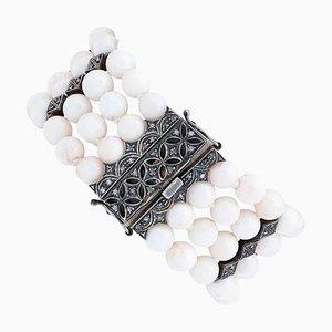 Bracelet en Perles de Corail, Diamant, Or Rose 9 Carats et Argent