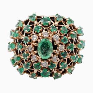 Bague Emeraude, Diamant et Or Rose 14 Carats