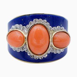 Coral, Diamond, Lapis, 14 Karat Rose and White Gold Band Ring