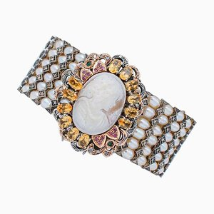 Emerald, Ruby, Diamond, Topaz, Pearl, 9kt Rose Gold and Silver Cameo Bracelet