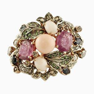 Bague Diamant, Rubis, Saphir Bleu, Corail, Tsavorite, Or Rose et Argent