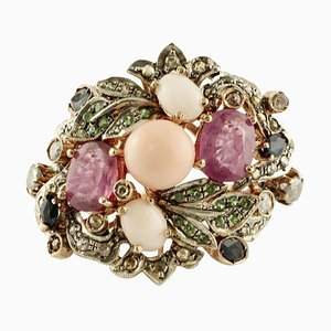 Diamond, Ruby, Blue Sapphire, Coral, Tsavorite, Rose Gold and Silver Ring
