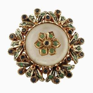 Rock Crystal, Diamonds, Emeralds, Blue Sapphires, 9 Karat Gold and Silver Ring