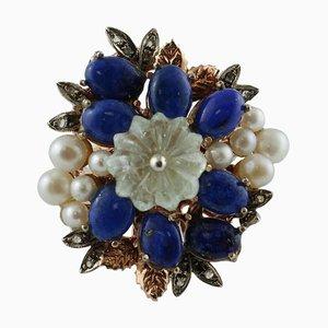Diamond, Lapis Lazuli, Rock Crystal, Pearl, 9 Karat Rose Gold and Silver Ring