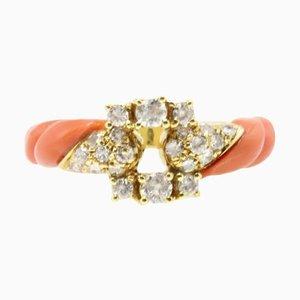 Gelbgold, Diamant und Korallen Ring