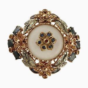 Diamant, Bergkristall, Blauer und Gelber Saphir, 9 Karat Gold und Silber Ring