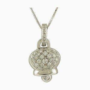 0.74 Carat White Diamonds, 18 Karat White Gold Bell Shape Pendant Necklace
