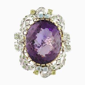 Topaz, Diamond, Amethyst & Rose and White Gold Flower Ring