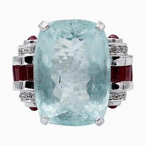 Bague Rubis, Diamants, Aigue-Marine et Or Blanc 14 Carats