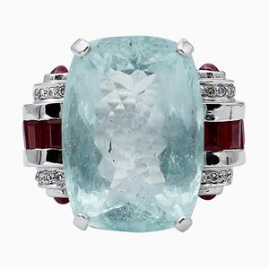 Ruby, Diamond, Aquamarine & 14 Karat White Gold Ring
