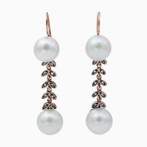 Boucles d'Oreilles Perles des Mers du Sud, Diamants, Or Rose 9 Carats et Argent, Set de 2