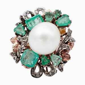 White Pearl, Diamond, Emerald, 9kt Rose Gold and Silver Ring
