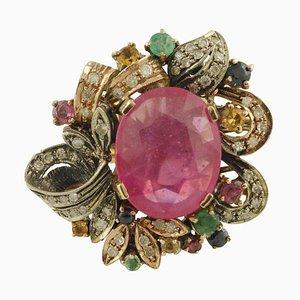 Ring aus Roségold und Silber mit Diamanten, Rubinen, Smaragden & blauen und gelben Saphiren