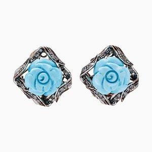 Boucles d'Oreilles Turquoise, Diamants, Or Rose 9 Carats et Argent, Set de 2