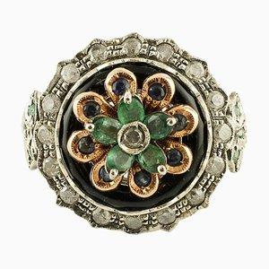 Diamant, Smaragd, Saphir, Onyx, Roségold und Silber Cocktail Ring