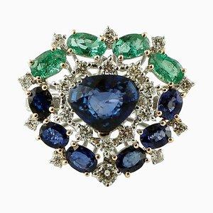 14 Karat Weißgold Herzring mit Diamanten, Blauen Saphiren & Smaragden