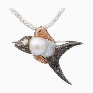 Diamond, Baroque Pearl, 9 Karat Rose Gold and Silver Fish Brooch or Pendant