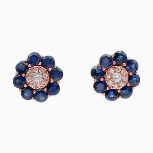 Boucles d'Oreilles Saphirs Bleus, Diamants et Or Rose 18 Carats, Set de 2