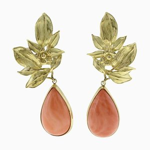 Orange Coral Drops, 18K Yellow Gold Leaves Shape, Drop Movable Earrings, Set of 2