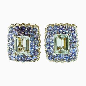 Diamonds, Tanzanite, Aquamarine and 14 Karat White Gold Clip-on Earrings, Set of 2