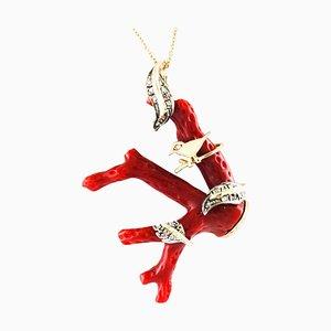 Collier à Pendentif Diamant, Branche de Corail Rouge, Or Rose et Argent