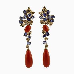 Orecchini a clip con diamanti, tanzaniti, corallo rosso e oro rosa 14 carati, set di 2
