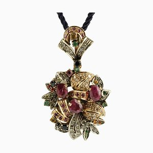 Multi Stone Rubies, Emeralds, Sapphires Rose Gold and Silver Pendant Necklace