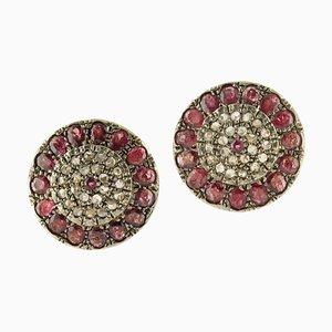 Boucles d'Oreilles Clip Rubis, Diamants, Or Rose et Argent, Set de 2