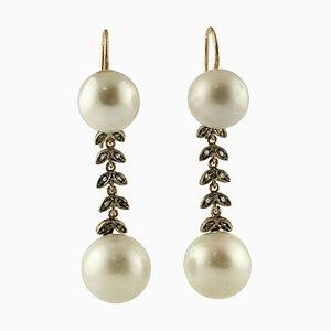 Orecchini pendenti in oro rosa, diamanti, 9 carati e argento, set di 2