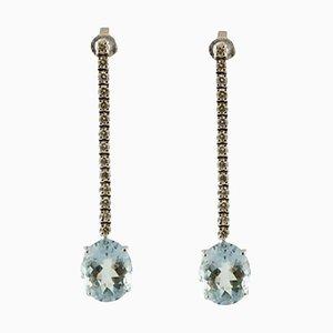 Boucles d'Oreilles Diamants, Aigue-Marines et Or Blanc 14K, Set de 2