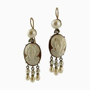 Boucles d'Oreilles Vintage Camée, Perles, Diamants, Or Rose 9 Carats et Argent, Set de 2
